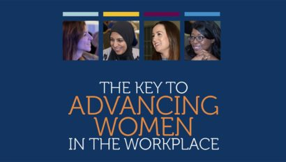 key to advancing women in the workplace infographic