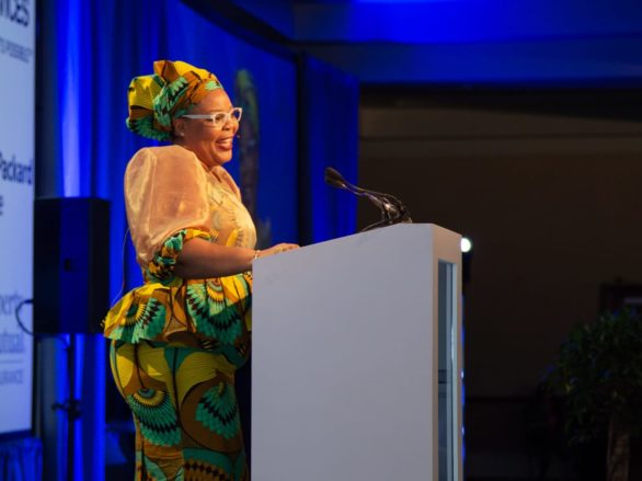woman speaking at the international conference in dublin